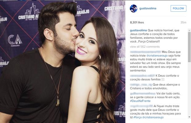 Cantor Gustavo Lima lamenta o acidente do amigo Cristiano Araújo Goiás (Foto: Reprodução/Instagram)