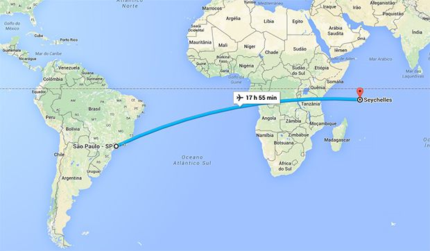 Distância do Brasil das Ilhas Seychelles, local de hospedagem do site. (Foto: Reprodução/Google Maps)
