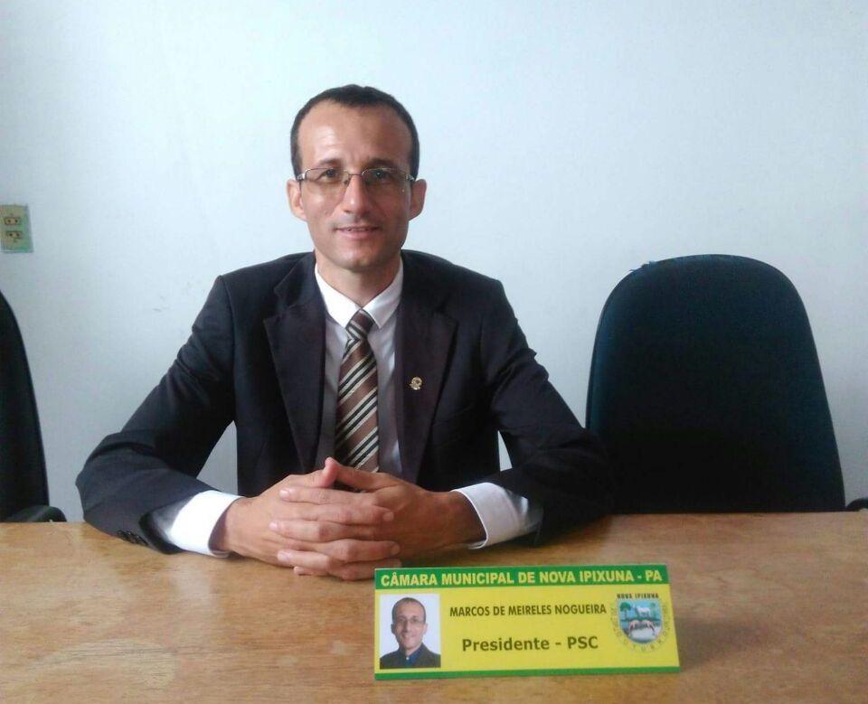 Vereador Marcos de Meireles, presidente da Câmara de Nova Ipixuna para o Biênio 2017-2018. (Foto: Ascom/CMNI)