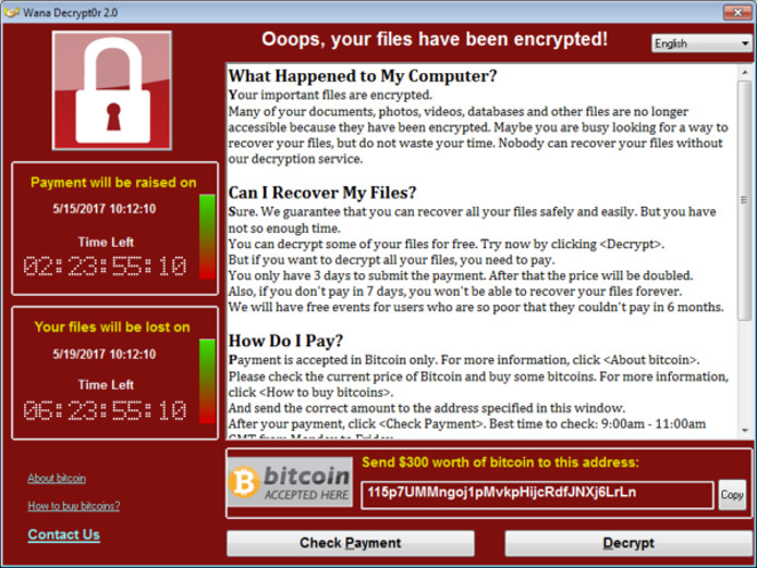 Mensagem do vírus WannaCry solicitando resgate de US$ 300. Valor aumenta caso a vítima demore a pagar. (Foto: Reprodução)